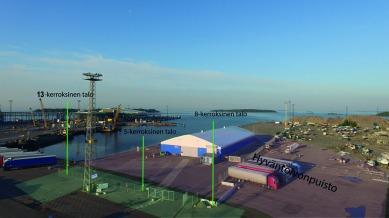 Kuvassa HASO merkitty liian lähelle satama-allasta eli oikea sijanti kuvassa enemmän oikeaan reunaan ja osin myös kuvan ulkopuolelle